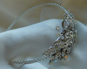 Side Tiara: 50% OFF Stunning Vintage Rhinestone and Marcasite settings with silvery leaves and Swarovski crystals for Wedding or Prom