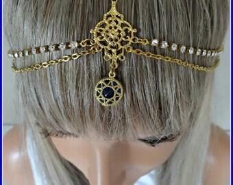 Headpiece Weddings Bridal Headpiece Wedding Head Piece Bridesmaid Accessory Hair Jewelry Head Jewelry Chain Headpiece Headdress Sealy Gold