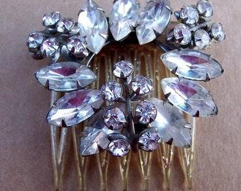 Vintage Hair Comb Hollywood Regency Rhinestone Hair Accessory Hair Slide Hair Pin Hair Pick Headdress Hair Jewelry Hair Ornament