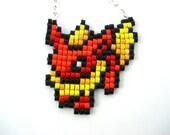 Flareon Pixel Sprite Pokemon Necklace Eeveelutions Geeky Jewelry Made to Order