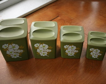 Vintage 1970s Avocado Green Kitchen Canisters - Plastic Floral Canisters - Kitchen Canister - Set of Four