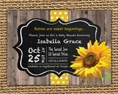 Chalkboard Sunflower Baby Invitation, Fall Baby Shower, Sunflower Invitation, Printable Invitation, Birthday Invitation, First Birthday