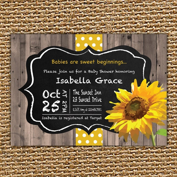 chalkboard sunflower baby invitation fall baby shower, Baby shower invitations