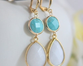 Turquoise and White Stone Earrings in Gold.  Turquoise Jewelry. Turquoise Earrings. Dangle Earrings. Modern Jewelry. Bridesmaids Jewelry.