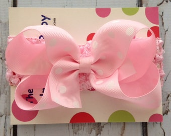 Pink Polka Dot  Hair Bow with Headband - Infant Hair Bow and Headband - Polka Dot Pink Hair Bow