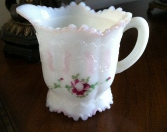Victorian Milk Glass Creamer Dithridge Versailles Pink Rose