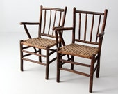 vintage Americana lodge chairs with split weave seats, set cabin chairs