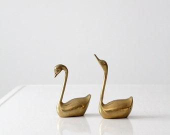 mid century brass swans pair