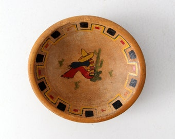 FREE SHIP 1950s Mexicana wood bowl, vintage southwestern painted bowl