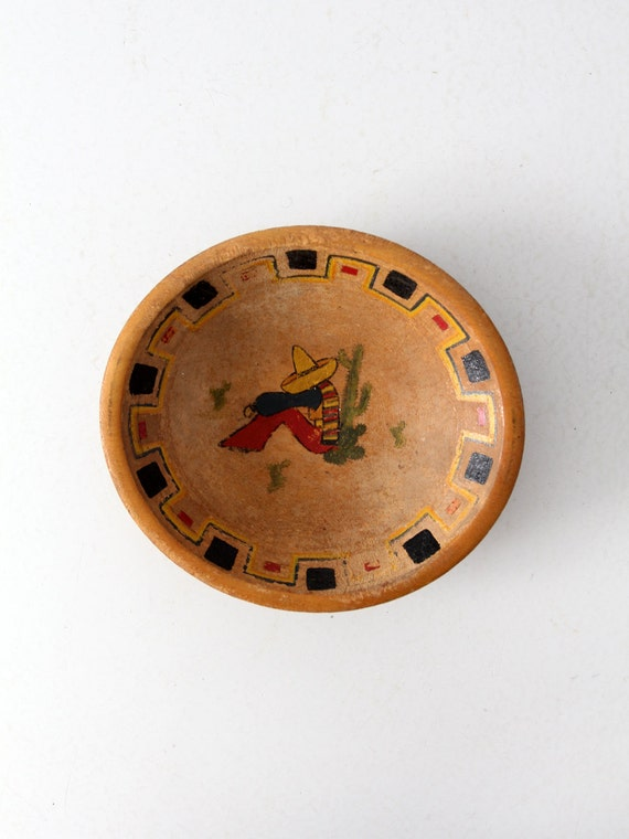 1950s Mexicana wood bowl, vintage southwestern painted bowl