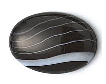 Black Lace Agate Oval 40.0 x 30.0mm Premium Cabochon Stone                          CC-20802