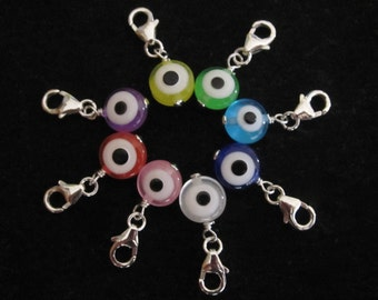 EVIL EYE sterling silver clip on charm, Protection and Luck, blue, green, red, yellow, white, purple, pink evil eye