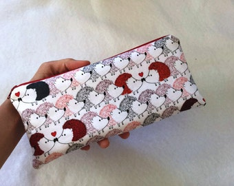 "Hedgehogs love Large long zipper Pencil Case (10"" x 4.5"")"