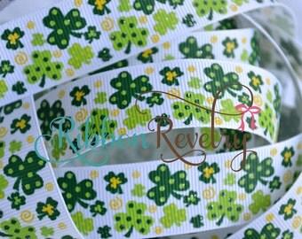 GReen multi color green Glitter shamrocks on 7/8 grosgrain ribbon- St Patricks day