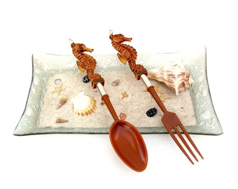 Vintage Seahorse Salad Serving Set Nautical Beach Retro Tropical Kitchenware Large Fork Spoon