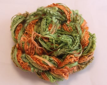 Burnt Orange moss green Silk sewing Thread Silk ribbon embroidery Hand Dyed Variegated quilting thread weaving yarn fibre art embellishment