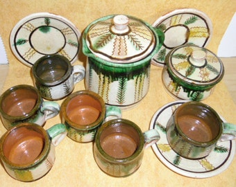 Vintage Pottery - OOAK, Signed, Terra Cotta Art Pottery, Folk Art Small Drink Set, 13 Piece Set, Covered Jug, Covered Jar, 6 Cups, 3 Saucers