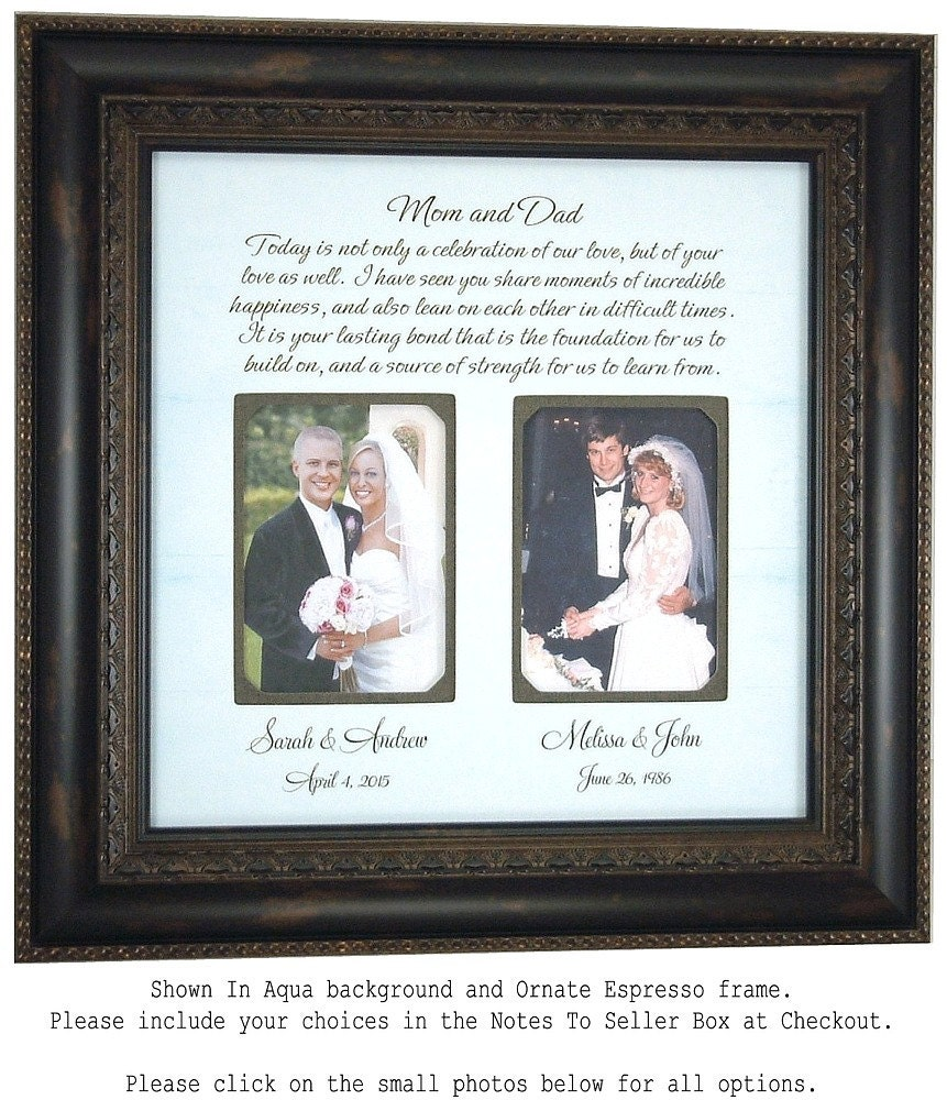 Parents Wedding Gift Wedding Frame for by PhotoFrameOriginals