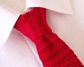 Knit Tie, Knitted Tie, Mens Knit Tie, Red Tie, Hand Knit Tie, Knit Necktie, Hand Knitted Tie, Red Skinny Tie, Skinny Tie, Hand Knit Necktie