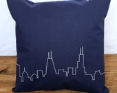 RESERVED for Jen - Classic Chicago Skyline Pillow - Navy Blue 16x16