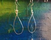 Tear drop hammered silver or gold hoop earrings