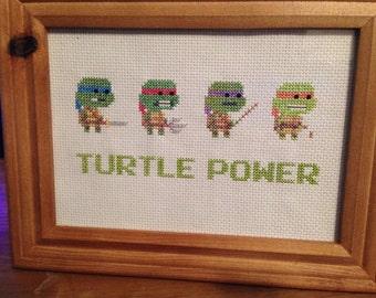 Turtle Power - TMNT framed cross stitch