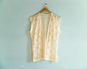 Vintage crochet top blouse shirt vest / white / open front / layering layer / boho bohemian hippie / medium one size