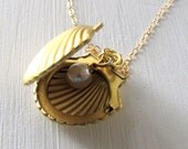 Gold Locket Shell Locket Keepsake Locket Pearl Locket Picture Locket Long Necklace Romantic Jewelry Photo Locket Gold Pearl Necklace