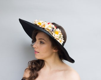 Vintage 1930's Hat - Mary Contrary - Thirties Wide Brim Floral Sun Hat