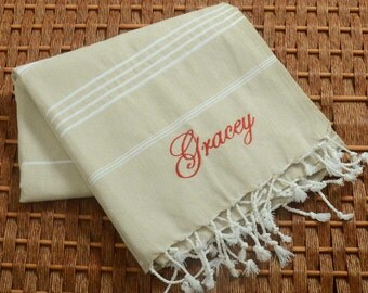 Classic COTTON PESHTEMAL Personalized Turkish Towel - Monogrammed Embroidered - Beige