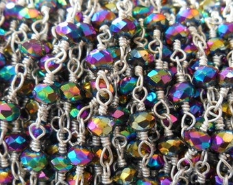Gemstone chain with sparkling, glassy, faceted beads.  999 Silver over Copper hypo-allergenic chain for bracelets, necklaces, high fashion.