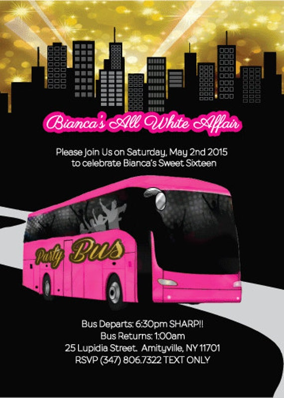 Items similar to 5 x 7 Party Bus Invitation- Bachelorette Party, Prom. VIP Limo Party on Etsy