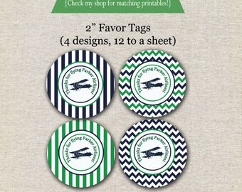 Vintage Airplane Favor Tags - navy and green | Vintage Airplane Thank You Tags | Vintage Airplane Party Printables | Aviator Party