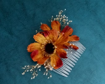 fall silk flower hair comb Barn Weddings copper brown cosmo headpiece Bridal party accessories dried flowers Baby's Breath Woodland autumn