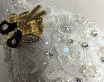 Sale Gorgeous one of a kind White and Gold Sequins Rhinestone Fitted Corset