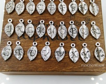 Clearance sale anti tarnish -5 whole sets from A TO Z 130 pcs-initial letter-stamped alphabet leaf charms-F1314