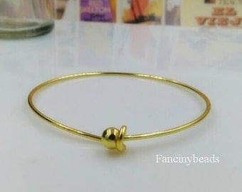 Bulksale-100 pcs fabulous gold plating over raw solid brass  basic bangles wired bracelet findings-F1272-end has a ball