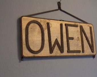 Large Sign Name MADE TO ORDER Personalize White Distressed Wood