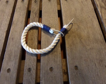 White Curtain Tie Back White Rope with Navy Accent Trim  Nautical Decor Window Treatment