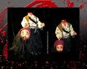 SALE - Blackbeard Pirate Edward Teach - Killed in Battle. Gruesome & bloody 21-inch effigy doll by Headless Historicals.