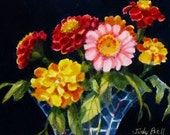 Red And Yellow Zinnias Bouquet Tiny Original Art Watercolor Painting