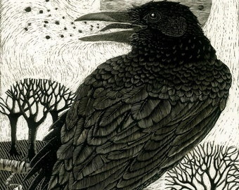 Art Card Raven's Song from Scraperboard original design