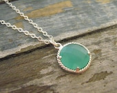 Dainty Mint Drop Necklace / Coin Necklace / Sterling Silver / Sea Glass / Mint Blue Green / Beach / Nautical / Jewelry / 925 / Gift / Simple