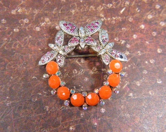 Vintage Round Orange and Rhinestone Butterfly Brooch - BUT-34 -  Rhinestone and Orange Butterfly Brooch - Orange Butterfly Brooch