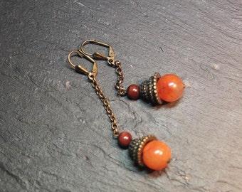 Boucles d'oreille collection dounia. . style ethnique .cornaline