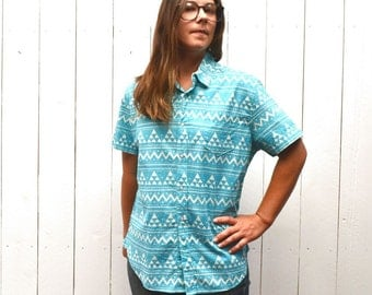 Southwest Button Up Shirt - Early 90s Turquoise Blue Tribal Top - Vintage Navajo Print Short Sleeve - Medium M / Large L
