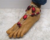 Red barefoot sandals made with natural hemp. Adult size Bellydance and beach fashion! HFT-328