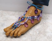WISTERIA. Blue, Pink, and amethyst purple barefoot sandals. Bellydance gypsy fashion. Drop style. HFT-963