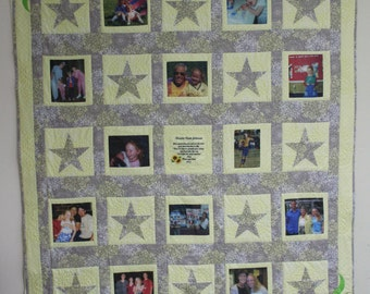 Graduation Memory Quilt With 12 Pictures,  with Custom Embroidery and Appliques