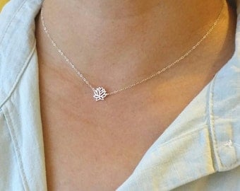 Tiny Sterling Silver Lotus Flower Necklace or Choker, Tiny Gold Vermeil Lotus Flower Necklace or Choker, everyday, friends